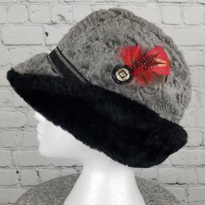 VINTAGE   union made faux fur winter fedora hat